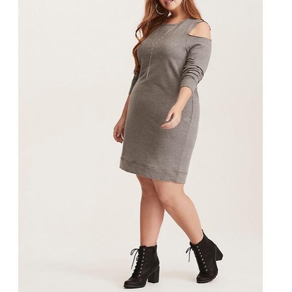 c15790a7551 NWOT - French Terry Cold Shoulder Sweatshirt Dress.  M 5c3405df409c15aca07f2410